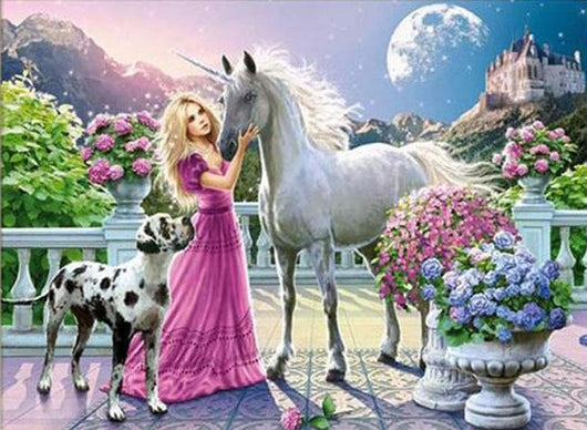 Beauty Girl And Horse