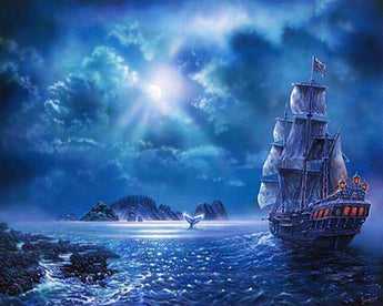 Boat at Night Diamond Painting