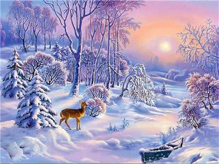 Deer Winter Scene Diamond Painting