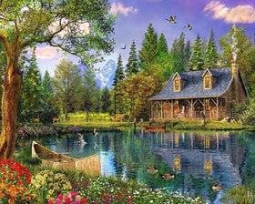 DiamondXpres Lake Cabin Diamond Painting