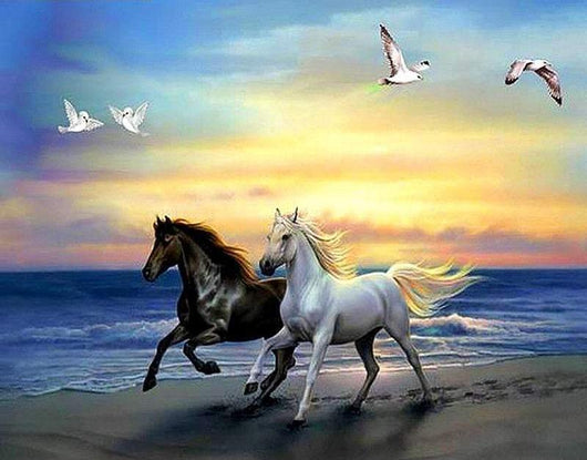DiamondXpres Two Horses Diamond Painting