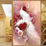 DiamondXpres White Peacock Diamond Painting
