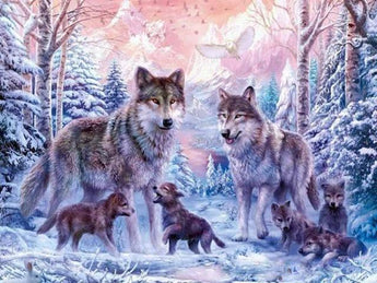 DiamondXpres Yellow / 40*50cm Wolf & Wolves Diamond Painting