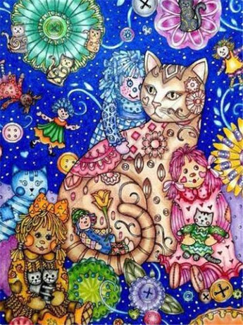 Doll And Cat Diamond Painting