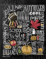 Fall Chalkboard Diamond Painting Round