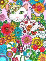 Flower And Cat Diamond Painting