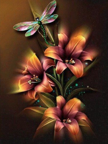 Flowers & Dragonfly Diamond Painting