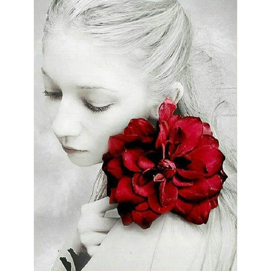 Girl With Red Rose Round