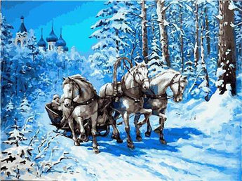 Horse Carraige Winter Scene Diamond Painting