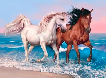 Horses on the Beach Diamond Painting