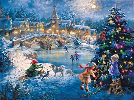 Ice Skating Winter Scene Diamond Painting