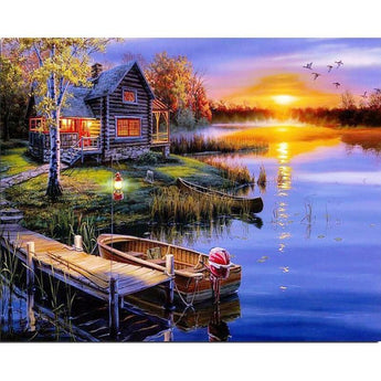 Lakehouse at Sunset Diamond Painting