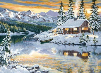 Lakehouse Winter Scene Diamond Painting