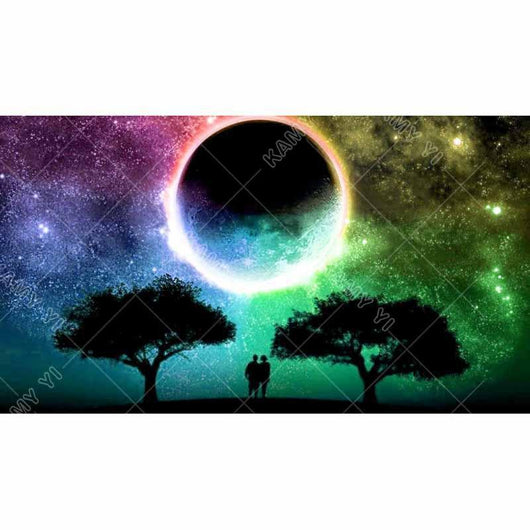 Moonlight landscape tree Diamond Painting