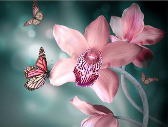 Orchids Butterflies Diamond Painting Embroidery Flower
