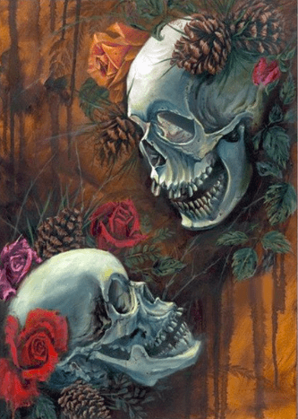 Skulls and Roses Diamond Painting Round
