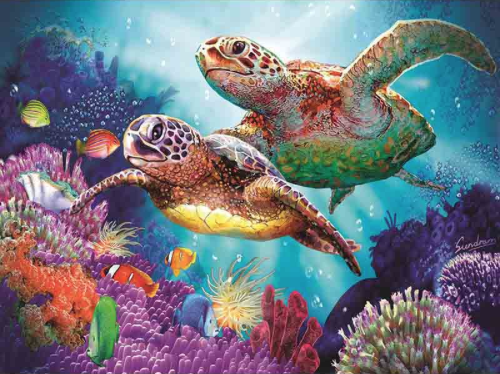 Swimming Turtles Diamond Painting