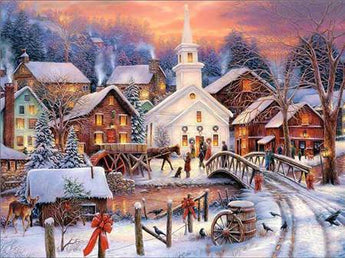 Town Winter Scene Diamond Painting