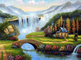 Waterfall Stream Diamonds Painting