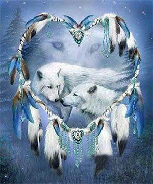 White Wolves Diamond Painting