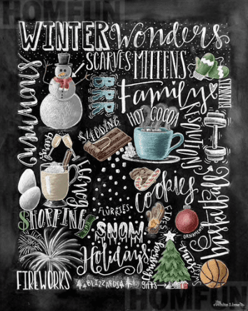 Winter Chalkboard Diamond Painting Round