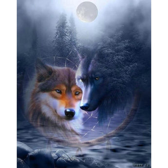 Wolves And Moon Diamond Painting Round
