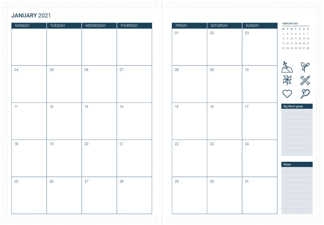 PRE-ORDER: 2021/2022 Monthly calendar pages refill
