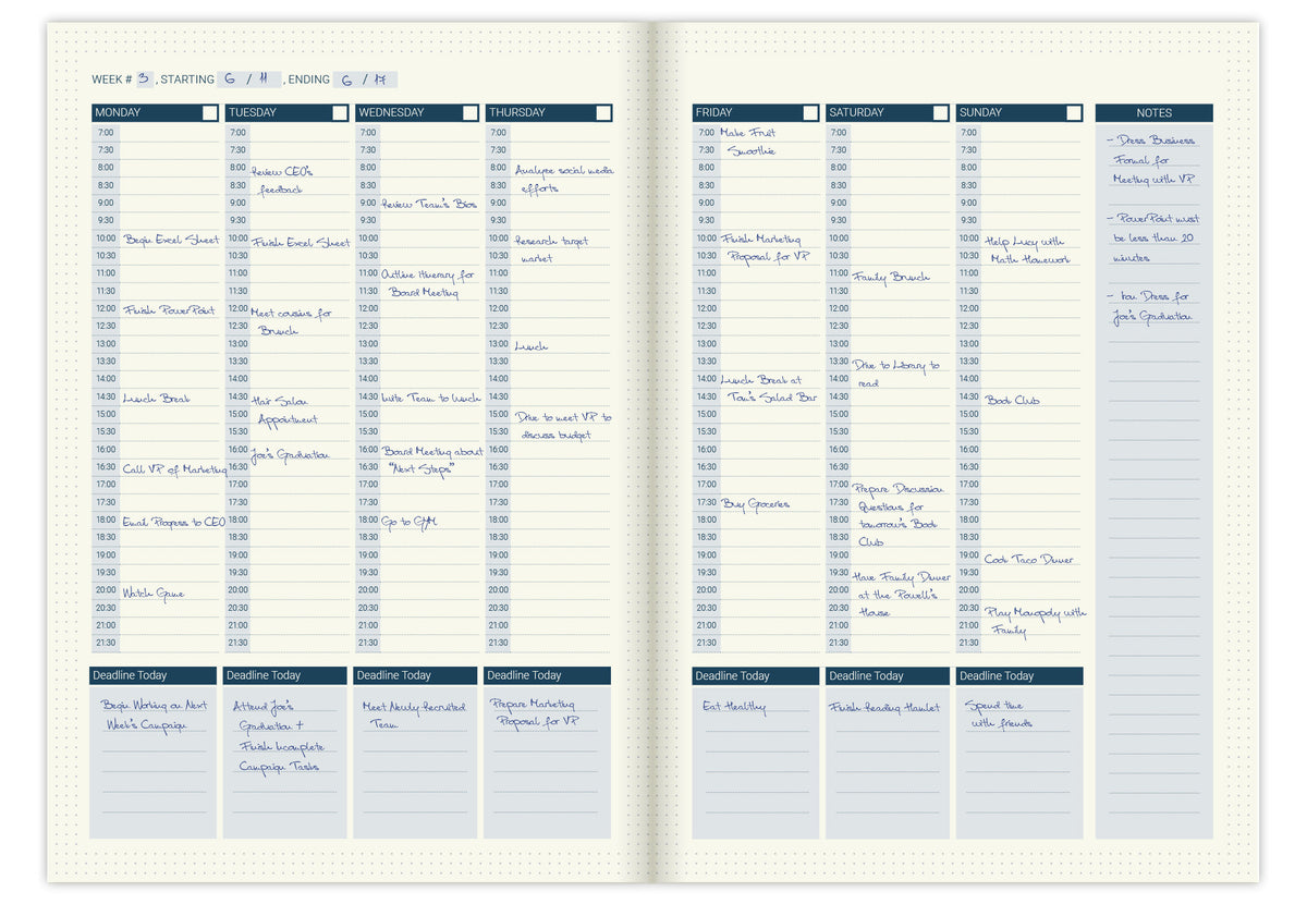 Weekly calendar pages refill