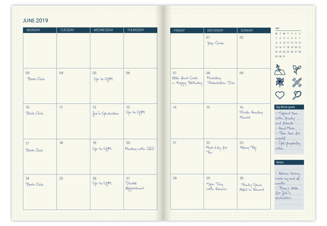 Monthly calendar pages refill