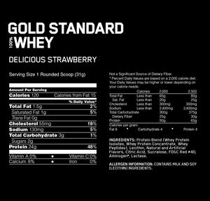 Optimum Nutrition Gold Standard 100% Whey 2lbs - Delicious Strawberry เวย์โปรตีนสร้างกล้ามเนื้อ