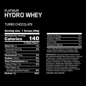 ON Platinum Hydrowhey Turbo Chocolate 1.75lbs