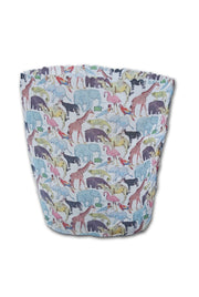 Beeswax wrap bucket bag-Handy  size. -Liberty print. Zoo Topia. Height:17cm Width:21cm Base:13X9cms