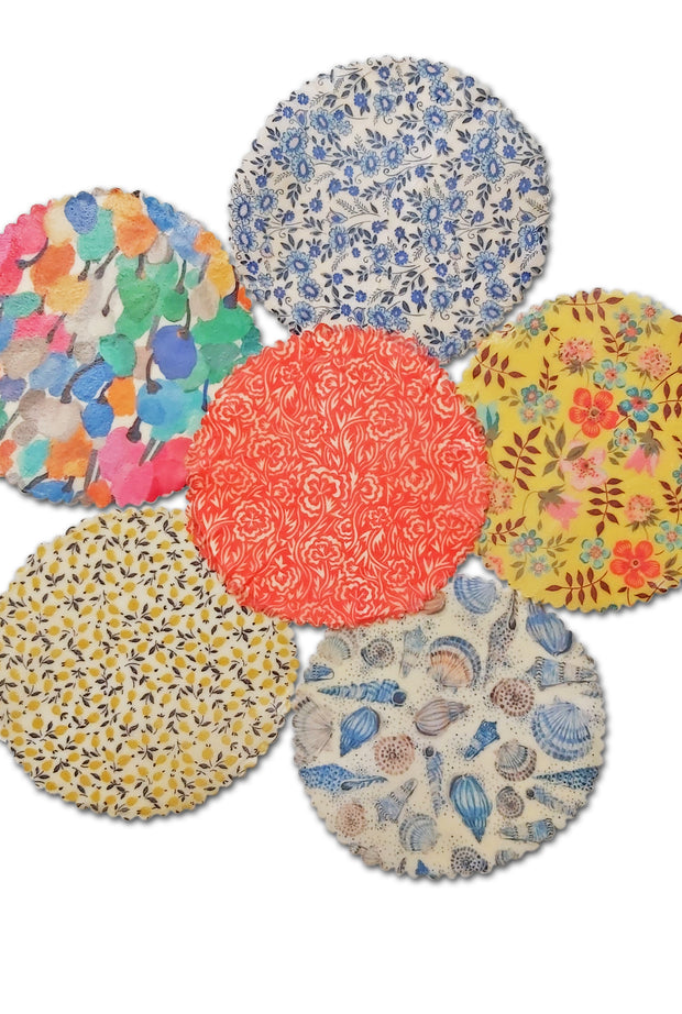 Ramaken beeswax wrap covers, 12.5cm circles.  6 colour options