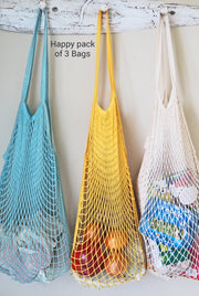 String Shopping Bags-Set of 3. Aqua, yellow, natural