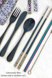 Stainless Steel set. Knife (Length 7.5cms-.50gms), Folk (Length 6.5cms- .32gms), Spoon (Length 6cms-.37gms), Chopsticks Pair (Length 23.5cms-.35gms), Straw (Length 21.5cms-.21gms) Cleaning Brush. Blue