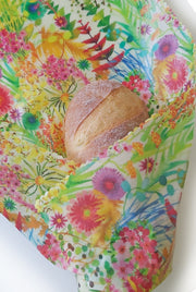 Beeswax wrap bread. Liberty print Watercolour floral. 45cmx55cm.