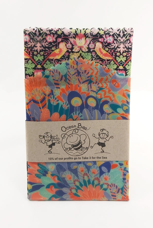 Beeswax wrap 2pack. Essential size. 33x26cm. 24x24cm. Liberty strawberry thief colourway
