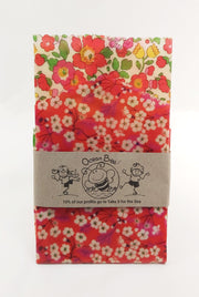 Beeswax wrap 2pack. 33x26cm. 24x24cm. Liberty red floral colourway