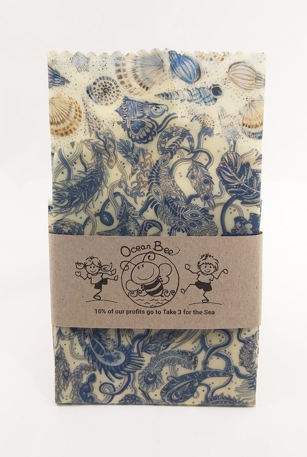 Beeswax wrap 2pack. essential size.33x26cm. 24x24cm. Liberty. Sea shells colourway