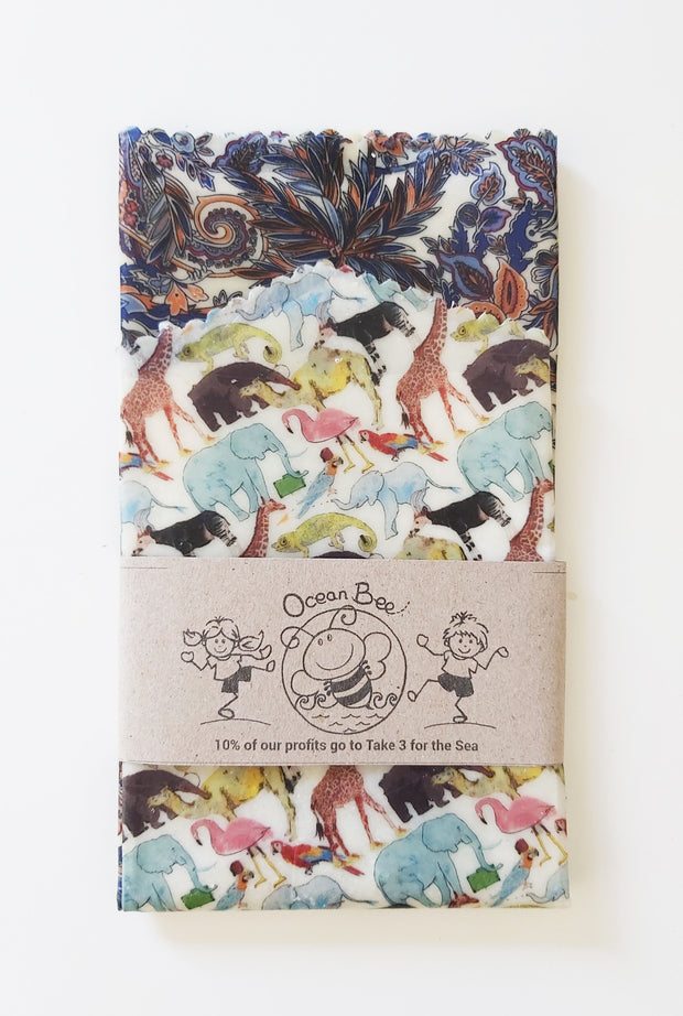 Beeswax wrap 2pack. Essential size. 33x26cm. 24x24cm. Liberty. Palms & zoo animal. colourway