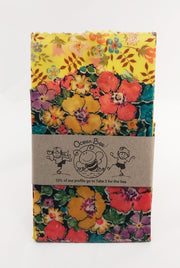 Beeswax wrap 2pack. 33x26cm. 24x24cm. Liberty. Yellow multi floral  colourway