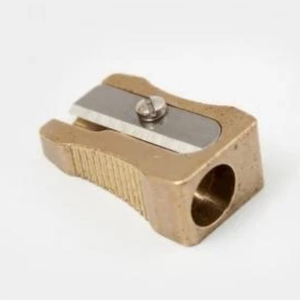 Classic brass sharpener for standard sized pencils.