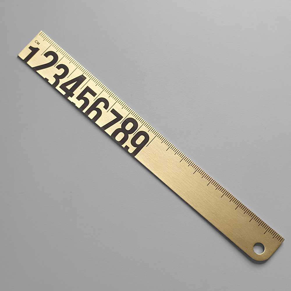 KaRiniTi - Brass Ruler with Black Print  18 cm