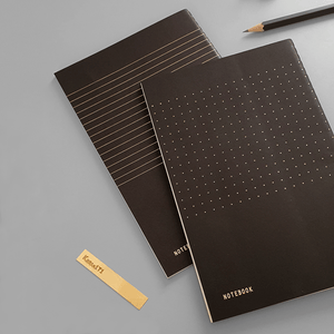 KaRiniTi Gift Set - The Notebook Combo     In this Gift Set you'll find:  ▲ Notebook - Dotted Grid  ▲ Notebook - Line Paper  ▲ Brass Ruler  ▲ Transparent Zip Case - Medium  ▲ Palomino Blackwing Pencil - Black