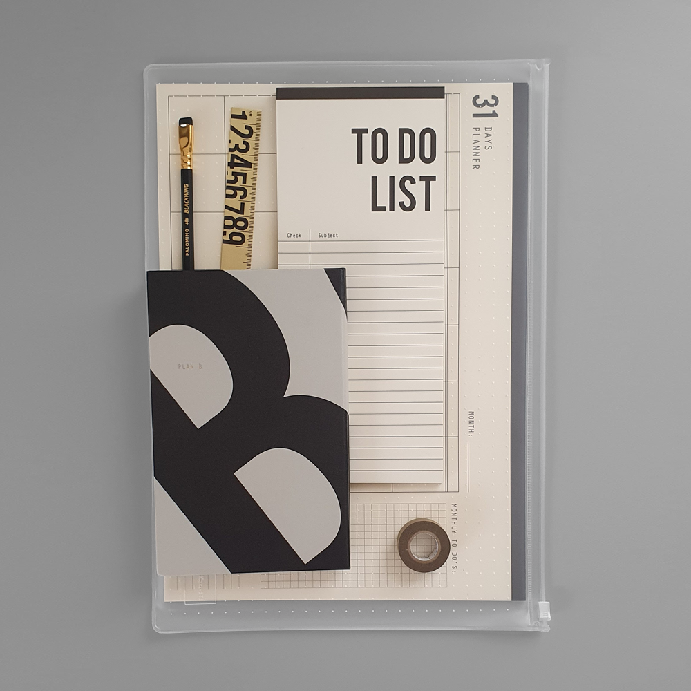 KaRiniTi - In this Gift Set you'll find:  ▲ Plan A/B Notebook: Black/Gray, Lined and Dot Grid pages/Blank pages  ▲ 31 Days Planner - Monthly Organizer  ▲ To Do List - Paper Block  ▲ Brass Ruler  ▲ Washi Masking Tape - Gold  ▲ Palomino - Blackwing Pencil