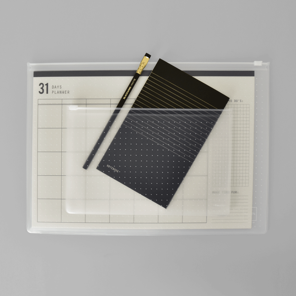 KaRiniTi - The Monthly Perspective Gift Set  In this Gift Set you'll find:     ▲ 31 Days Planner - Monthly Organizer  ▲ Black Notebook - Lined Paper/ Dot Grid  ▲ Transparent Zip Case - Medium  ▲ Palomino - Blackwing Pencil