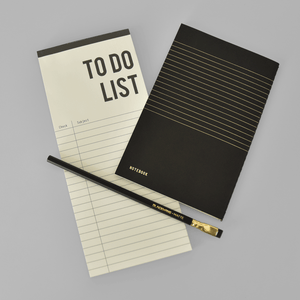 KaRiniTi The Plan and Do Combo ▲ To Do List  ▲ Black Notebook - Lined Paper/ Dot Grid  ▲ Palomino - Blackwing Pencil