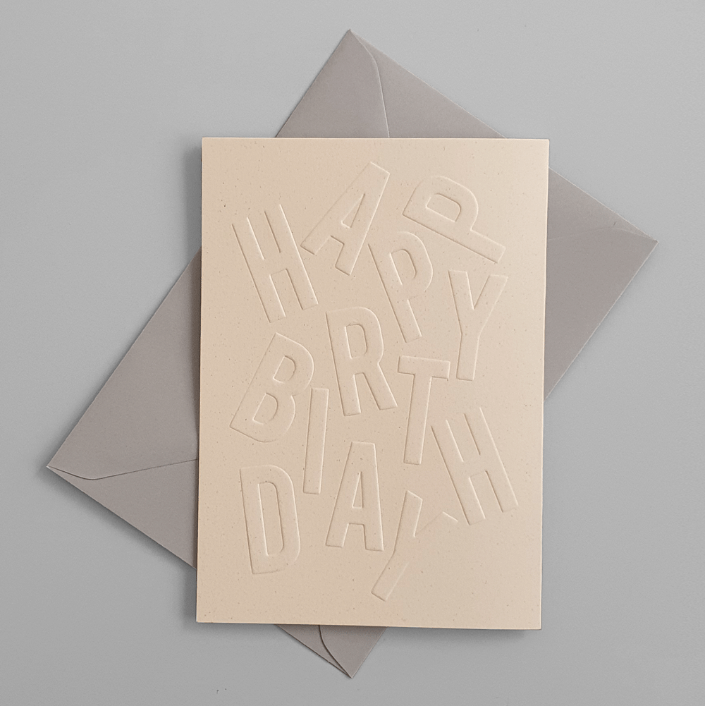 "KaRiniTi Greeting card - ""HAPPY BIRTHDAY""     ▲ 250 g. ECO Orange Paper   ▲ 10.5-14.5 cm (when folded)  ▲ Soft Gray envelope included     A beautiful way to show you are thinking about the small details."