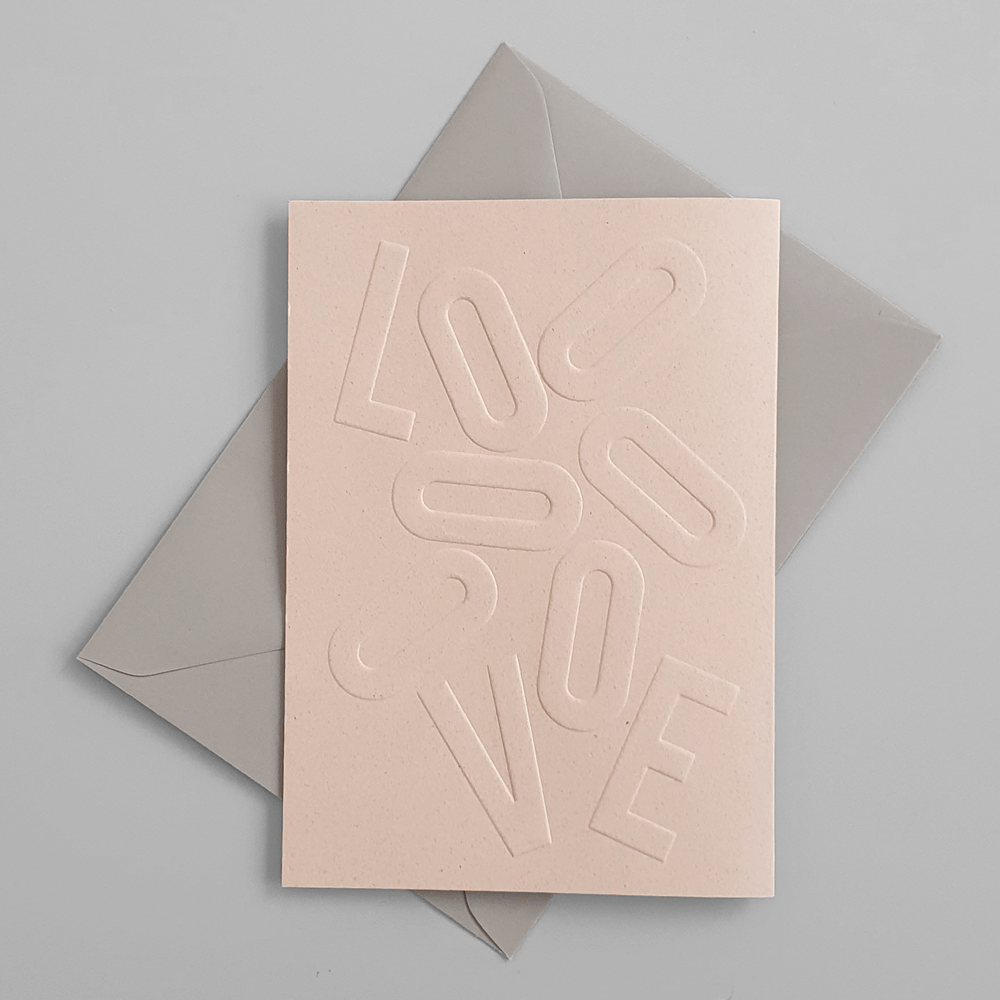 "KaRiniTi Greeting card - ""LOVE""     ▲ 250 g. ECO Grape Paper   ▲ 10.5-14.5 cm (when folded)  ▲ Soft Gray envelope included     A beautiful way to show you are thinking about the small details."