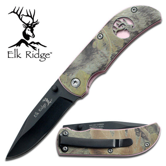 Elk Ridge ER-120 PINK HANDLE WITH CAMO OVERLAY ELK CUTOUT